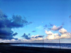 象潟海水浴場の早朝