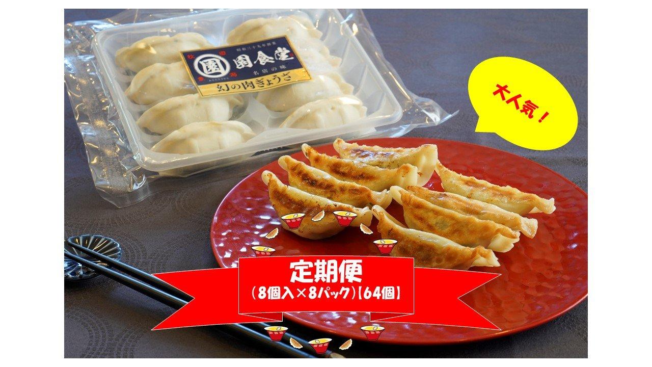 毎月定期購入 幻の肉ぎょうざ(8個入×8パック)【容量64個】